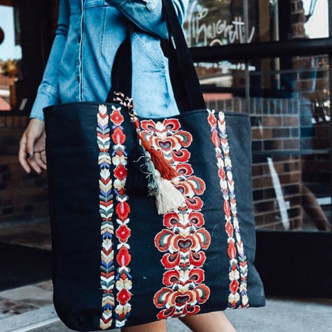 Boho Embroidered Tote