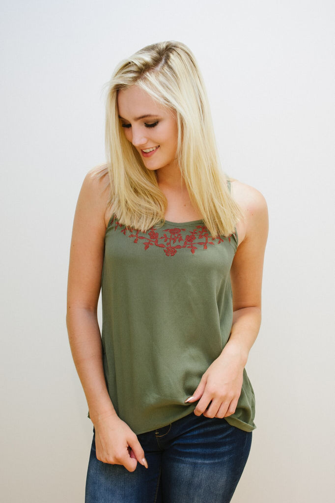 Olive Embroidered Tank