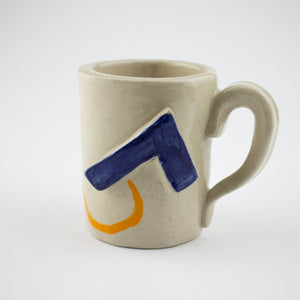 Studio Mug - Tall with Orange and blue relief. - Fleuro Studio Shop