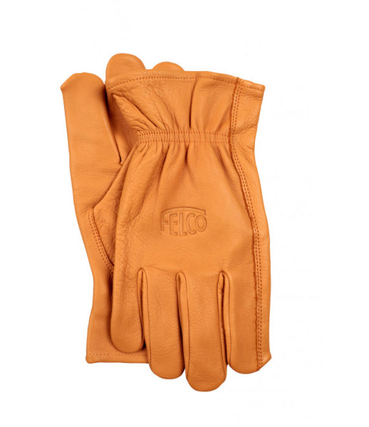 FELCO 703 I Premium cow grain gloves, tan puncture resistant, natural color.