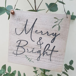 Merry and Bright Engraved Sign
