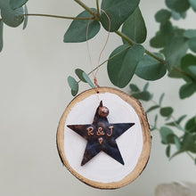 Load image into Gallery viewer, Personalised Romantic Copper Star Christmas Decoration