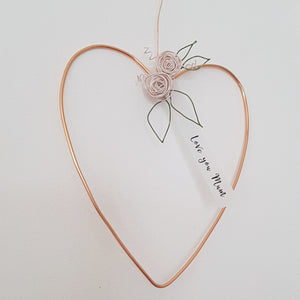 Little Copper Floral Heart for Mum or Grandma