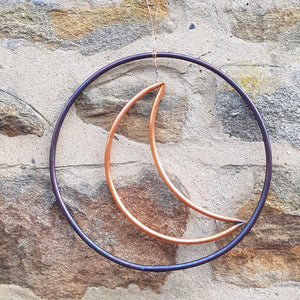 Copper moon and circle hanging decoration