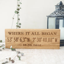 Load image into Gallery viewer, Personalised Engraved Oak Co-ordinate Sign