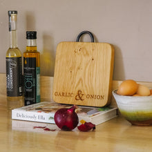 Load image into Gallery viewer, Engraved Oak Garlic & Onion Board