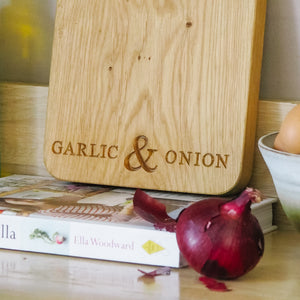 Engraved Oak Garlic & Onion Board