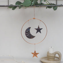 Load image into Gallery viewer, Copper Moon and Stars Hanging Decoration