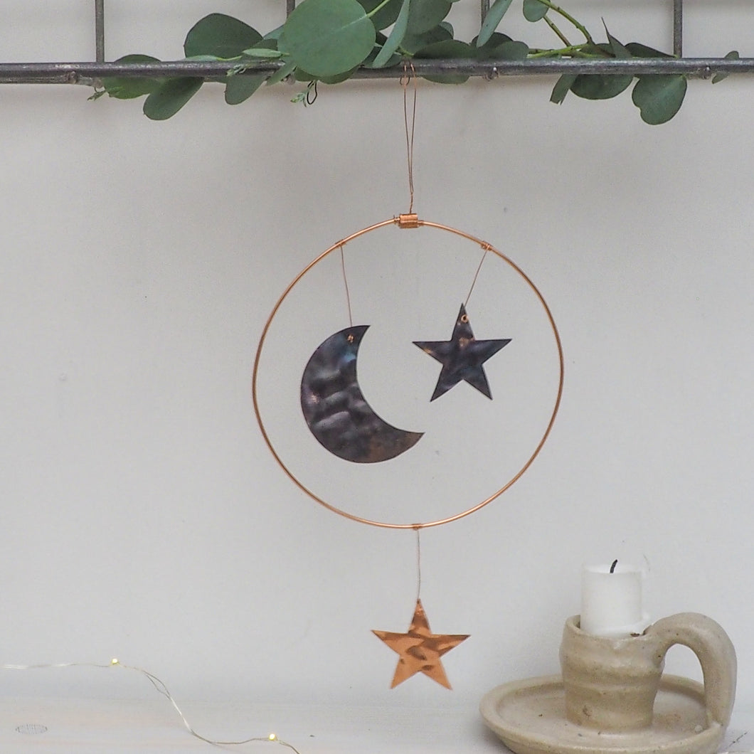 Copper Moon and Stars Hanging Decoration