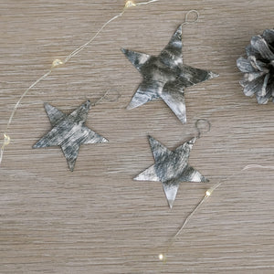 Set of Three Hammered Aluminium Stars