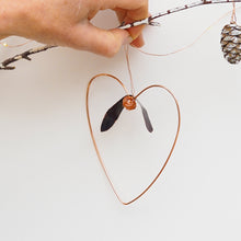 Load image into Gallery viewer, Copper Mistletoe Heart