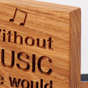 Engraved Oak Music Lovers' Block