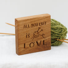 Load image into Gallery viewer, Engraved Oak Knitters' Block