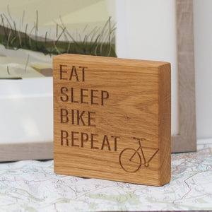 Engraved Oak Cyclists Block