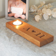 Load image into Gallery viewer, Personalised Solid Oak Tealight with Heart