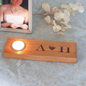 Personalised Solid Oak Tealight with Heart