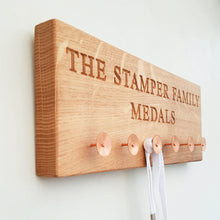 Load image into Gallery viewer, Personalised Engraved Oak Medal Holder