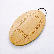 Load image into Gallery viewer, Engraved Oak Rugby Ball Platter