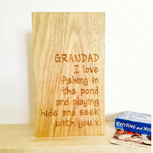Personalised Engraved Oak Plaque