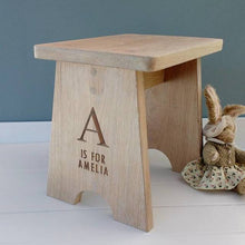 Load image into Gallery viewer, Personalised Contemporary Oak Child's Stool