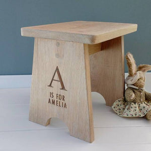 Personalised Contemporary Oak Child's Stool