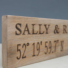 Load image into Gallery viewer, Contemporary Romantic Engraved Oak Location Sign