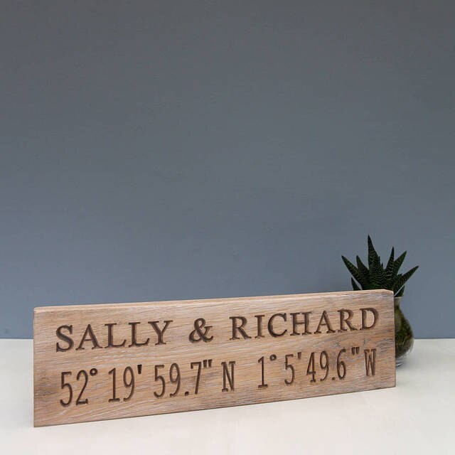Contemporary Romantic Engraved Oak Location Sign