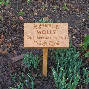 Floral Oak Memorial Plaque