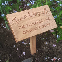 Load image into Gallery viewer, Time Capsule Garden Marker in Oiled Oak