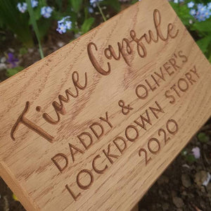 Time Capsule Garden Marker in Oiled Oak