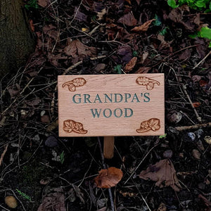 Personalised Engraved Oak Leaf Plaque with Stake