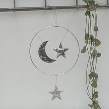 Load image into Gallery viewer, Aluminium Moon and Stars Hanging Decoration
