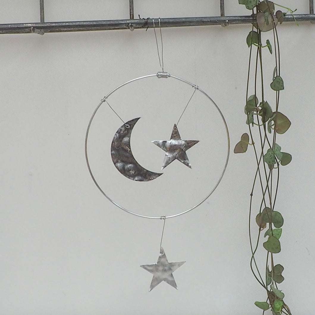 Aluminium Moon and Stars Hanging Decoration