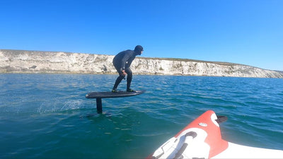 The BamBooBay crew try hydrofoiling through caves on the Isle Of Wight.