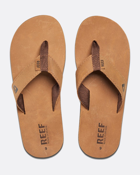 Reef Leather Smoothy Bronze Flip Flops