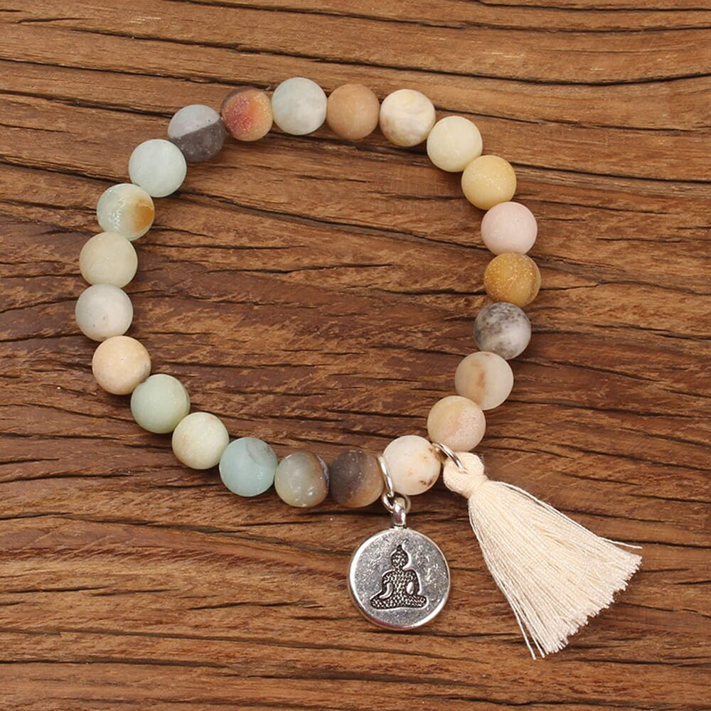 Natural Stone Buddha Prayer Bracelet with Tassel
