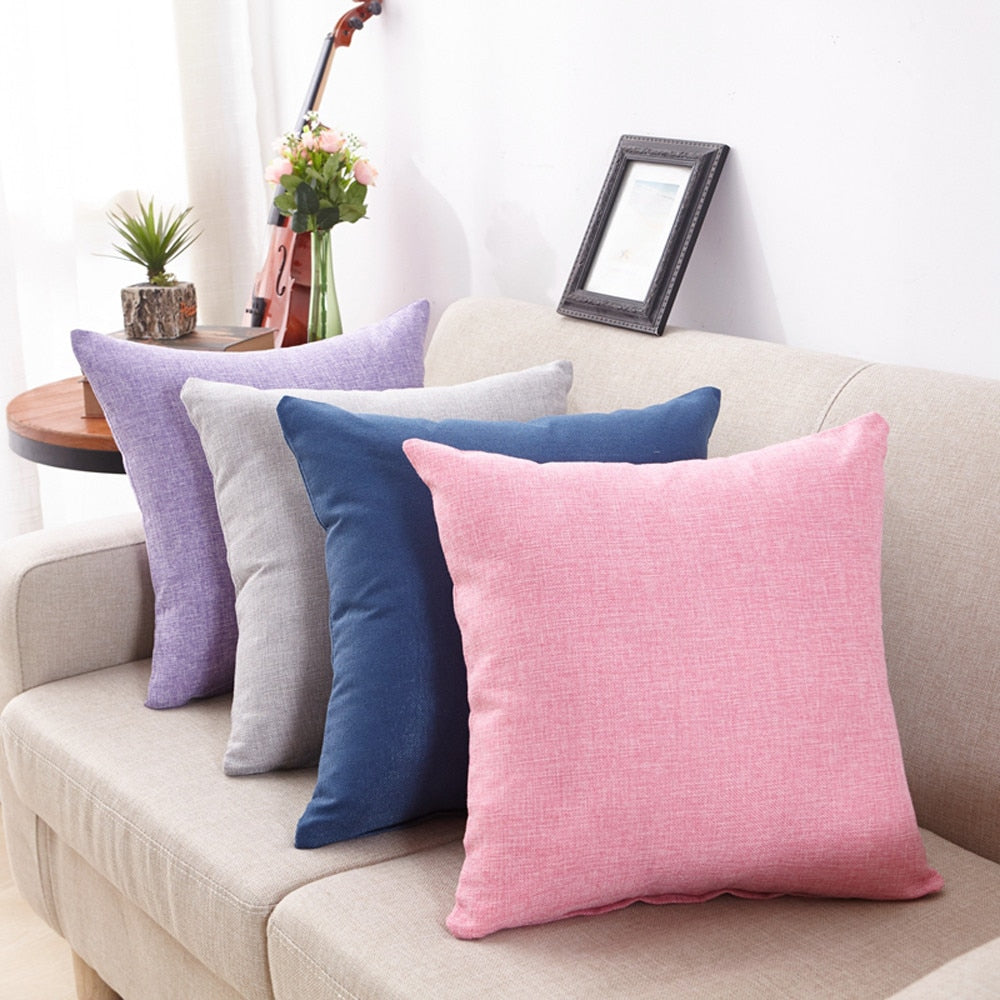 Cotton-Linen Throw Pillow Covers