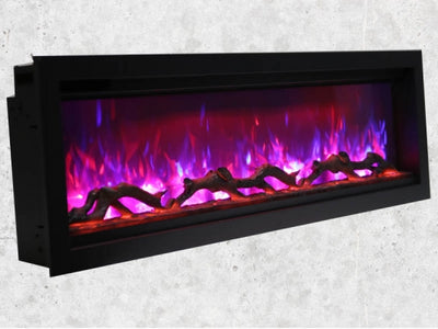 88″  Wide, Extra Tall, Clean Face, Built-in with log and glass, black steel surround