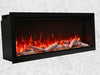 60″ Clean Face, Built-in with log and glass, black steel surround