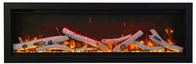 74″ Clean Face, Built-in with log and glass, black steel surround