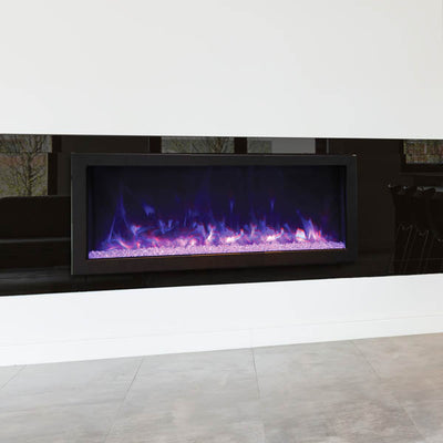 45″ Wide & 12″ Deep Indoor or Outdoor Built-in only Electric Fireplace with black steel surround