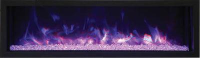 55″ Wide and Extra Slim Indoor or Outdoor  Built-in only Electric Fireplace with black steel surround
