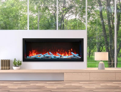 74″  Wide, Extra Tall, Clean Face, Built-in with log and glass, black steel surround
