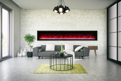 100″ wide, basic, built-in with glass and black steel surround