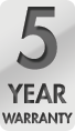 You're covered by a full 5-Year Warranty