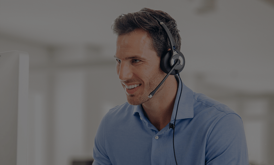 man wearing corded office headset