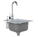 "17"" Single Sink w/Hot/Cold Faucet & Soap Dispenser, (1) Sink Drains"