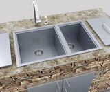"Over/Under 34"" x 12"" Height Double Basin Sink w/Covers, (2) Sink Drains"