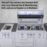 "Sunstone 10"" Wide Charcoal Tray with Removable Panel (Works with Ruby Series Grills, SUN13CPRO & SUNCHSZ30IR)"