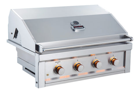 "Ruby 36"" 4 Burner Pro-Sear w/LED Lights, High Heat Searing Grate Propane"